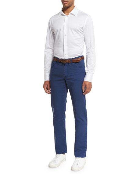 Five-Pocket Twill Pants, Blue