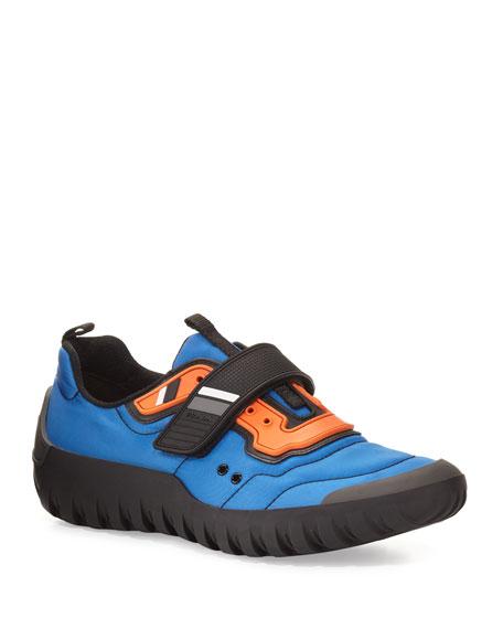 Men's Colorblock Nylon Scuba Sneakers, Blue/Orange