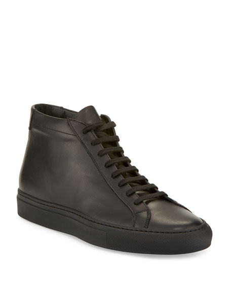 Common Projects Basic Leather High-Top Sneaker, Black