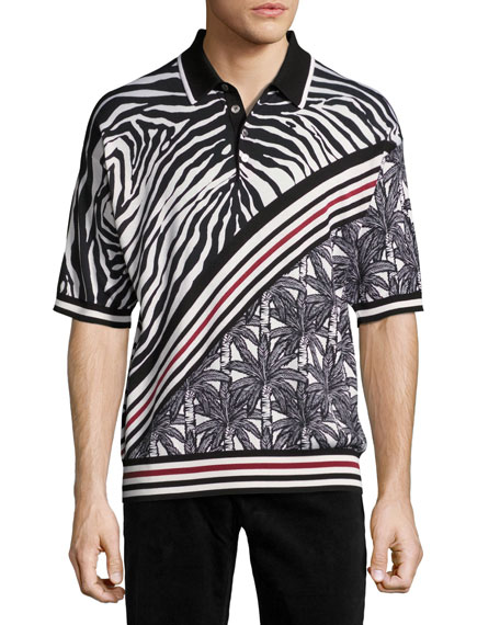 Zebra & Palm Tree Polo Shirt, Black/White/Red