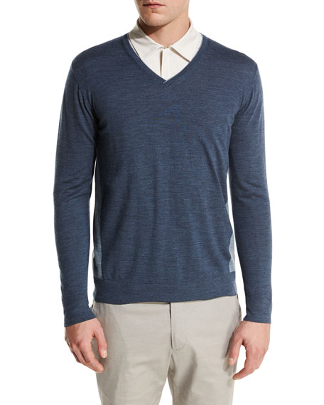 Loro Piana Ryder Cup Scollo V-Neck Bicolor-Wash Virgin