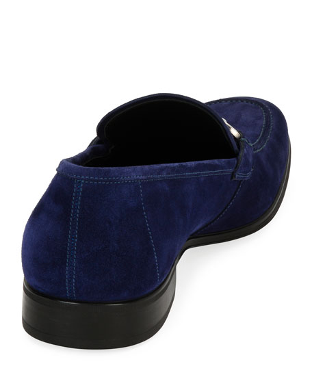 Men's Suede Gancini Loafer, Ultra Blue