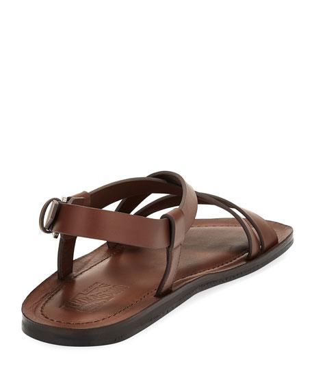 Men's Leather Strap Sandal, Brown
