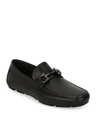 Men's Pebbled Leather Gancini Driver  Black