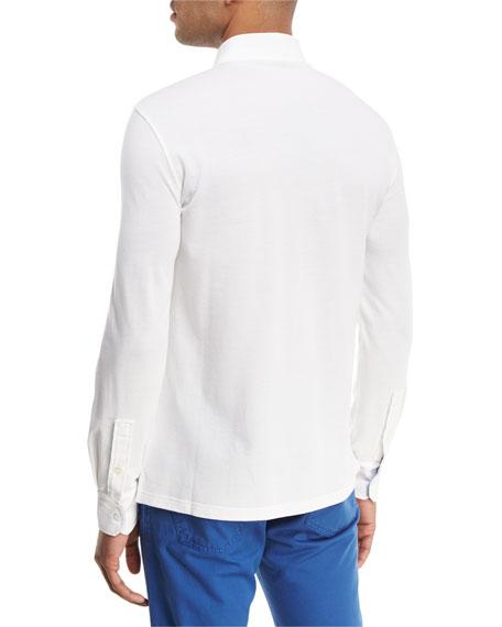Piqué Knit Long-Sleeve Oxford Shirt
