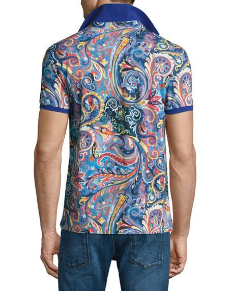 Paisley Polo Shirt, Blue/Multicolor