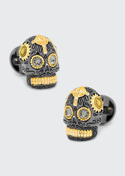 3D Day of the Dead Sugar Skull Cuff Links  Black/Gold