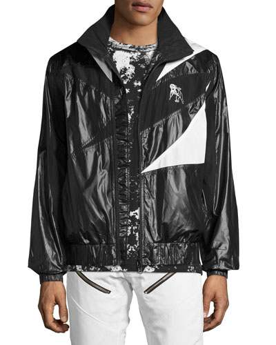 Patchwork Tech Wind-Resistant Jacket with Drawcord Back  Black/White