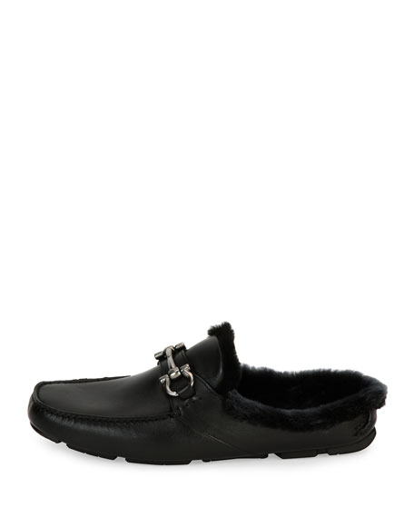 Leather Slipper with Shearling Fur Lining, Black
