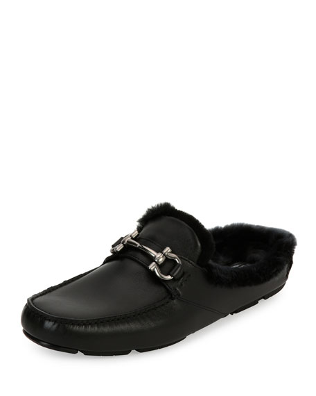 Men's Leather Slipper with Shearling Fur Lining, Black