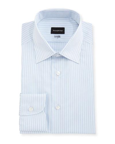 100Fili Striped Cotton Dress Shirt  White/Blue