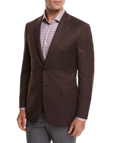 Solid Wool Sport Coat, Rust Brown