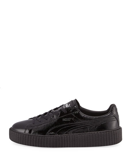 x Fenty Puma by Rihanna Men's Cracked Leather Creeper Sneaker, Black