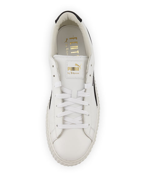 x Fenty Puma by Rihanna Men's Cracked Leather Creeper Sneaker, White