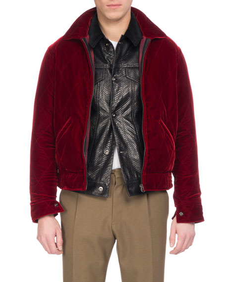 Velvet Zip-Front Blouson Jacket