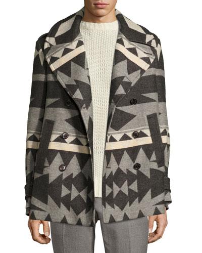 Beacon Patterned Wool Pea Coat  Gray