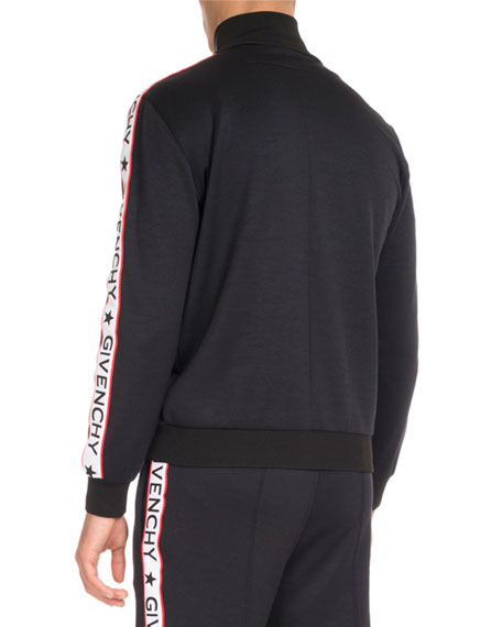 Track Jacket with Logo Taping, Black