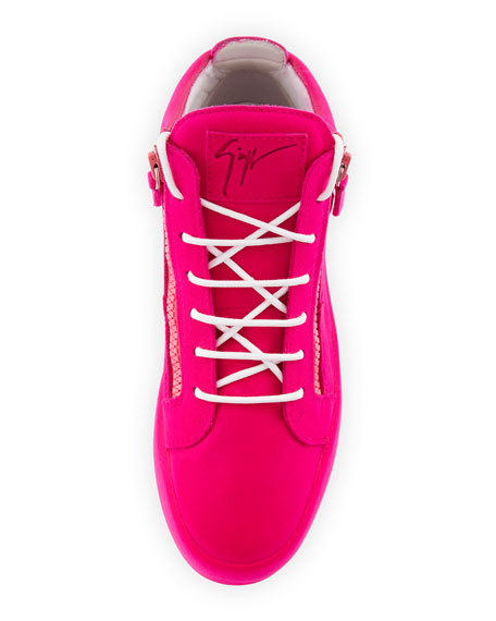 Men's Flocked Leather Mid-Top Sneakers