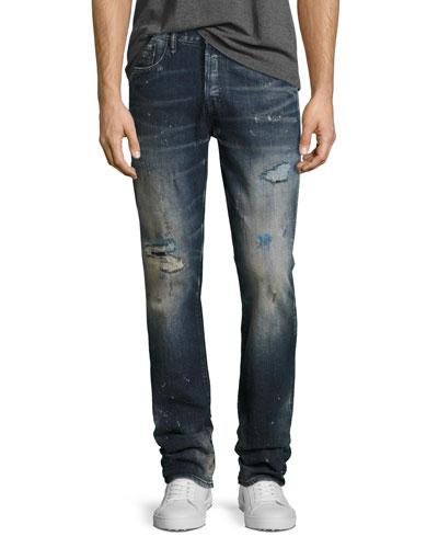 Demon Distressed Slim-Straight Jeans  Ice Cream (Dark Blue)