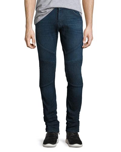 Bearden Moto Slim-Fit Jeans  Navy