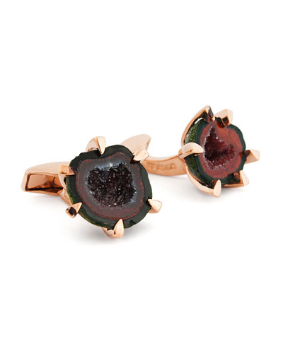 Geode Rose Golden Cuff Links