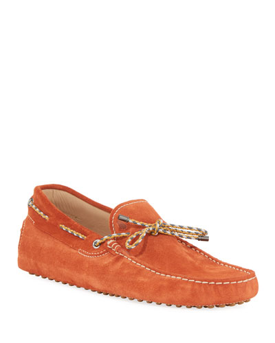 Gommini Suede Driver with Braided Tie  Orange