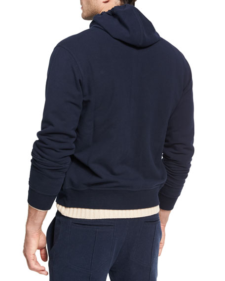 Spa Stretch-Cotton Hoodie Cardigan, Navy
