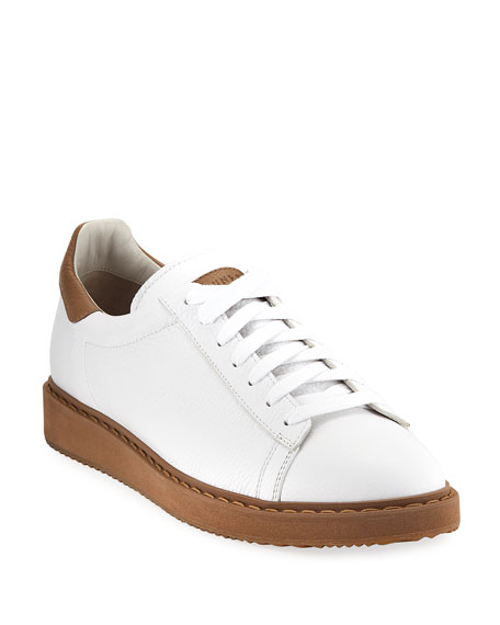 Brunello Cucinelli Men's Leather Low-Top Sneakers, White