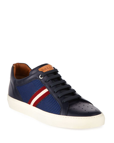 Bally Herk Men's Mesh & Leather Low-Top Sneakers,