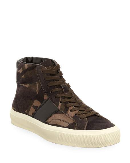 TOM FORD Men's Cambridge Camouflage Suede High-Top Sneakers