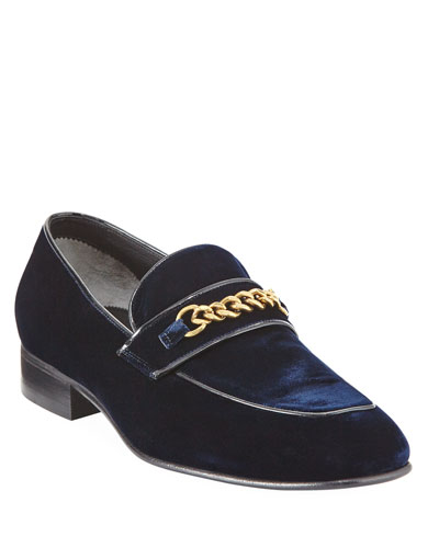 Velvet Chain-Link Loafer  Blue