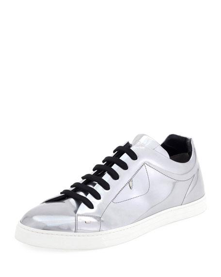 Men's Bag Bugs Metallic Leather Low-Top Sneakers, Silver