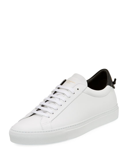 Men's Urban Knot Colorblock Leather Low-Top Sneaker, White/Black