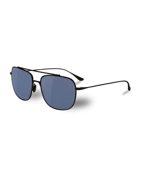 Swing Titanium Rectangular Aviator Polarized Sunglasses, Matte Black/Blue