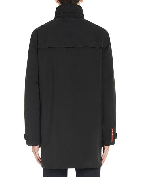 Stand-Collar Rain Coat w/Removable Hood