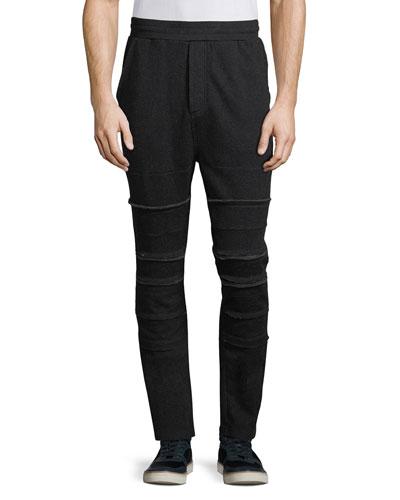 Raw-Edge Paneled Jogger Pants