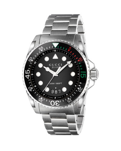 45mm Gucci Dive Stainless Steel Bracelet Watch