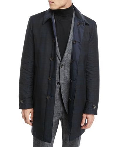 Hidden-Button Trench Coat