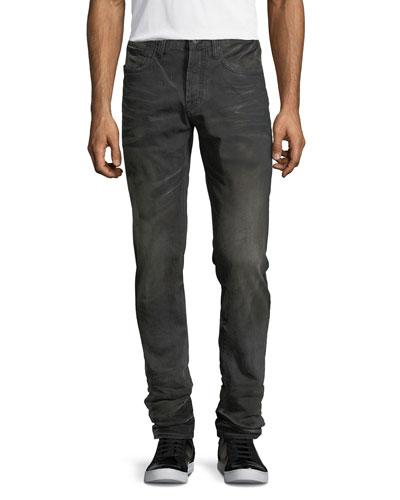 Faded & Whiskered Denim Slim-Straight Jeans