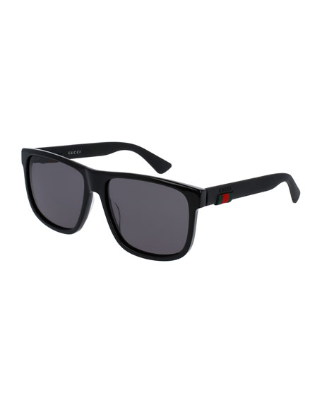 Square Acetate Sunglasses, Black