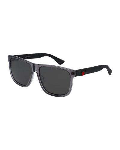 Polarized Square Acetate Sunglasses  Gray