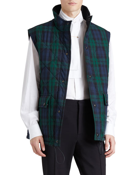 Tartan Check Reversible Quilted Gilet
