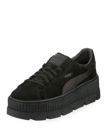 Low-Top Suede Cleated Creeper Sneaker, Black