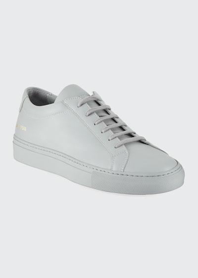 Men's Achilles Leather Low-Top  Gray
