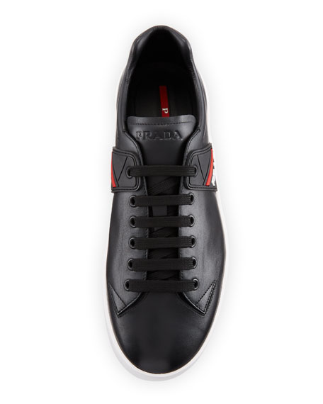 Men's Vitello Plume Leather Low-Top Sneakers