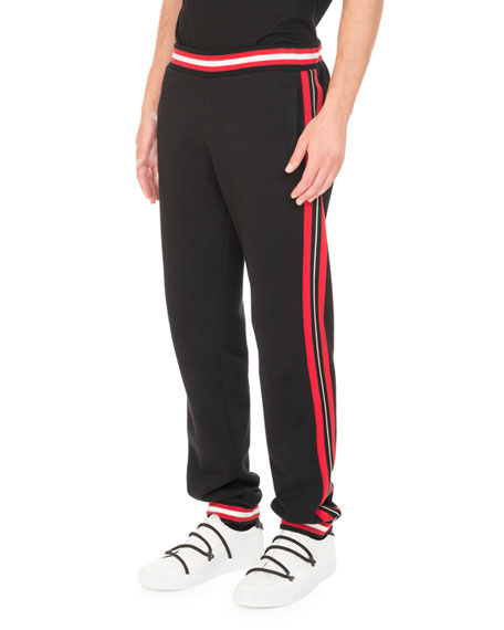 Cotton Contrast-Stripe Jogger Pants