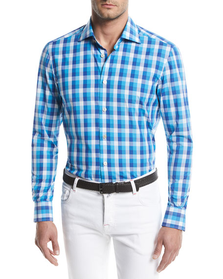 Image 1 of 1: Large-Check Cotton Sport Shirt