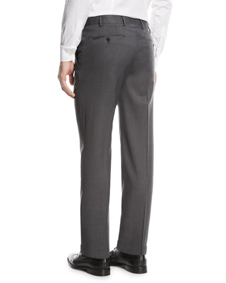 Basic Flat-Front Wool Trousers