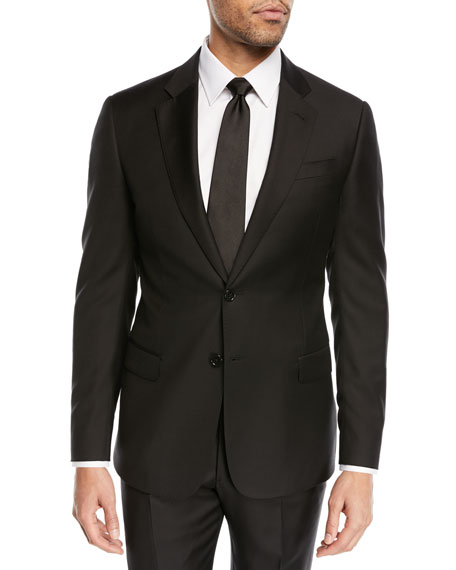 Super 130s Wool Two-Piece Suit, Black