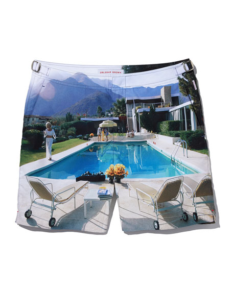 Bulldog Photographic Poolside Printed Swim Trunks, Multi